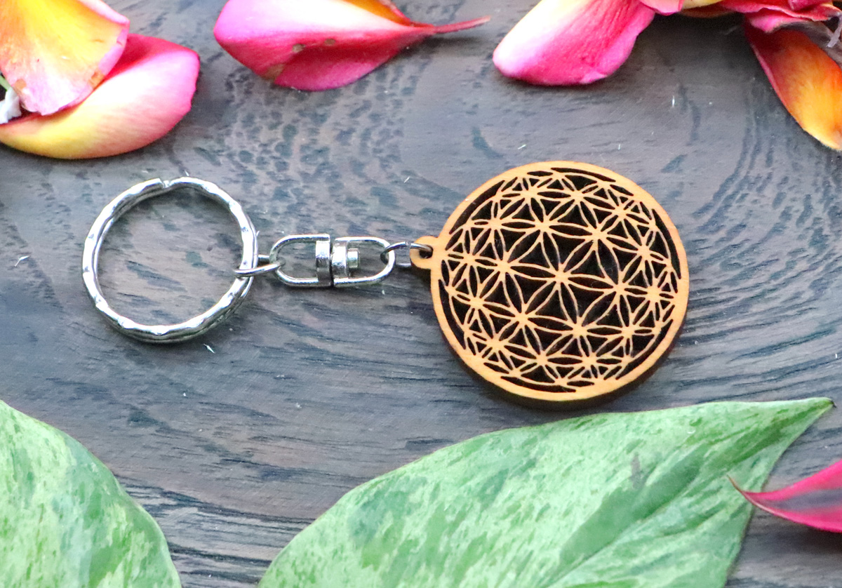 Wooden chain flower of life
